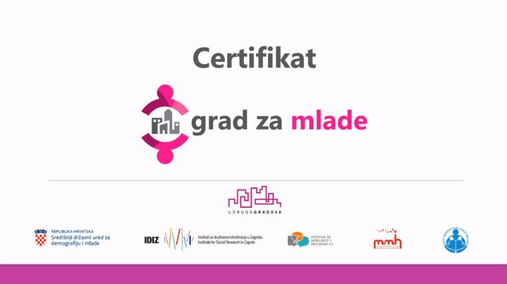 """Certfikat """"Grad za mlade"""" uskoro i u Hrvatskoj"""